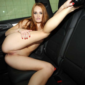 Heaven sexy legs, shaved pussy, redhead, car