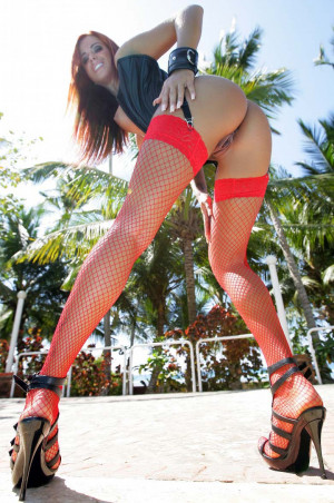 Ashley Bulgari red stockings, ass, high heels, outdoor