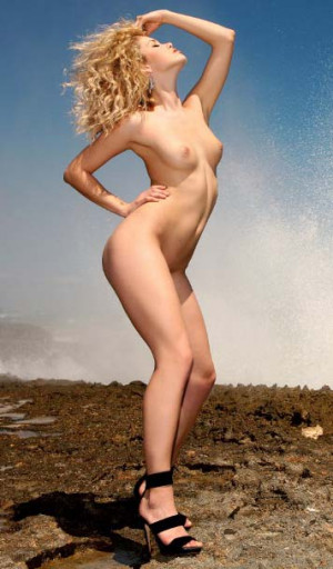 Alissa White high heels, blonde, tits, naked, outdoor